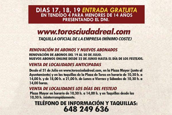 COMIENZA A BUEN RITMO LA VENTA DE ABONOS DE LA FERIA TAURINA DE CIUDAD REAL